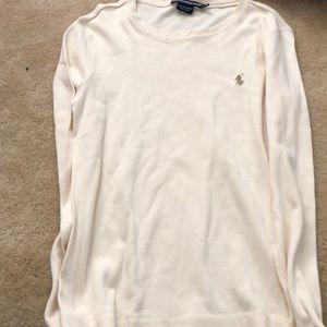 Cream fitted Ralph Lauren Sport long sleeve shirt